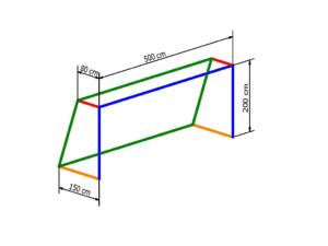 Nets for 5x2 m goal PP 4 mm (depth 0,8/1,5 m)