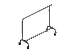 Trolley for transport and storage of one pair of volleyball uprights