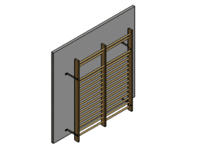 Permanently fixed double wall bars (200 cm), height: 260 cm with installation accessories