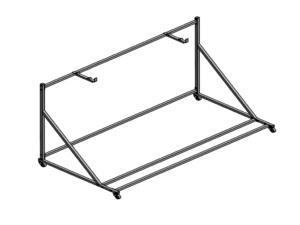 Transport trolley for 2 handball goalposts (oblique)