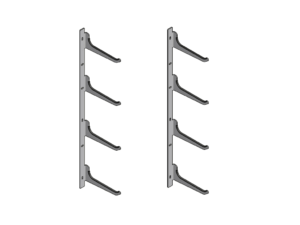 Wall storage console for posts 2x4 hooks