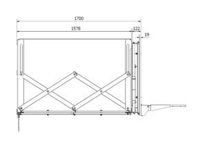 Centrically foldable backboard support structure 170 cm