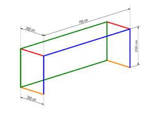 Nets for 7,32×2,44 m goal PP 4 mm (depth 2/2 m)