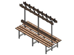 Locker room bench type C  length: 1,5 m