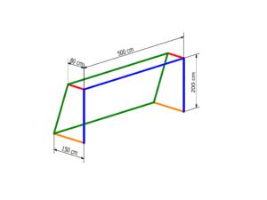 Nets for 5x2 m goal PP 5 mm (depth 0,8/1,5 m)