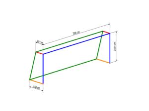 Nets for 7,32x2,44 m goal PP 5 mm (depth 0,8/1,5 m)